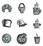 Breakfast Icons Freehand 2 Color Stock Photo