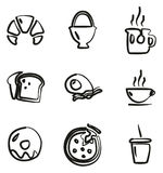 Breakfast Icons Freehand Stock Photo