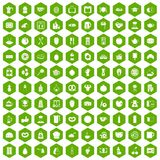 100 breakfast icons hexagon green Stock Image
