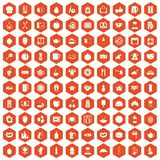 100 breakfast icons hexagon orange Stock Image