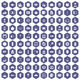 100 breakfast icons hexagon purple. 100 breakfast icons set in purple hexagon isolated vector illustration vector illustration