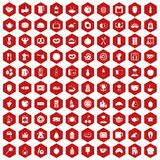 100 breakfast icons hexagon red Royalty Free Stock Photos