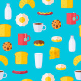 Breakfast icons seamless colorful pattern. Morning food background illustration Royalty Free Stock Photo