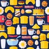 Breakfast icons seamless colorful pattern. Morning food background illustration Royalty Free Stock Photography