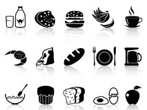 Breakfast icons set. Isolated black breakfast icons set from white background Stock Image