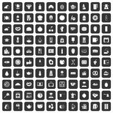 100 breakfast icons set black. 100 breakfast icons set in black color isolated vector illustration Royalty Free Stock Photography
