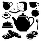 Breakfast icons set, black isolated  silhouettes o Stock Images