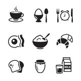 Breakfast icons set. Black on a white background Stock Images