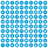 100 breakfast icons set blue. 100 breakfast icons set in blue hexagon isolated vector illustration stock illustration