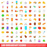100 breakfast icons set, cartoon style Stock Images