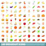 100 breakfast icons set, cartoon style. 100 breakfast icons set in cartoon style for any design vector illustration Royalty Free Stock Photo
