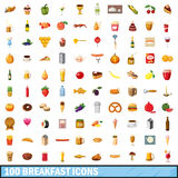 100 breakfast icons set, cartoon style Stock Image