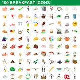 100 breakfast icons set, cartoon style. 100 breakfast icons set in cartoon style for any design vector illustration Royalty Free Stock Image