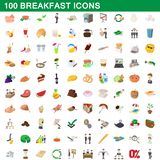 100 breakfast icons set, cartoon style. 100 breakfast icons set in cartoon style for any design illustration royalty free illustration