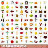 100 breakfast icons set, flat style Royalty Free Stock Images