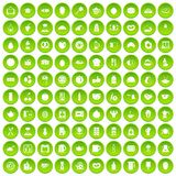 100 breakfast icons set green circle. Isolated on white background vector illustration Stock Photos