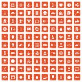 100 breakfast icons set grunge orange. 100 breakfast icons set in grunge style orange color isolated on white background vector illustration Royalty Free Stock Images