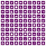 100 breakfast icons set grunge purple. 100 breakfast icons set in grunge style purple color isolated on white background vector illustration Royalty Free Stock Image