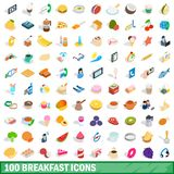 100 breakfast icons set, isometric 3d style. 100 breakfast icons set in isometric 3d style for any design illustration stock illustration