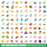 100 breakfast icons set, isometric 3d style. 100 breakfast icons set in isometric 3d style for any design vector illustration Stock Photos