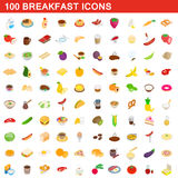 100 breakfast icons set, isometric 3d style. 100 breakfast icons set in isometric 3d style for any design vector illustration Royalty Free Stock Photos