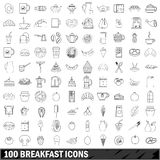 100 breakfast icons set, outline style Stock Image