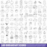 100 breakfast icons set, outline style. 100 breakfast icons set in outline style for any design vector illustration Stock Photography