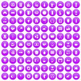 100 breakfast icons set purple. 100 breakfast icons set in purple circle isolated on white vector illustration royalty free illustration