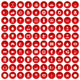 100 breakfast icons set red. 100 breakfast icons set in red circle isolated on white vector illustration Royalty Free Stock Photography