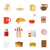 Breakfast Icons Set Royalty Free Stock Photography