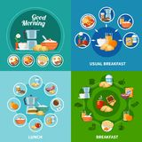 Breakfast 2x2 Icons Set. Various breakfast and lunch dishes and drinks 2x2 icons set isolated on colorful background flat vector illustration Royalty Free Stock Image