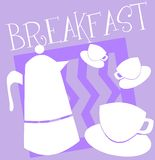 Breakfast illustration with cups and coffeepot stock photo