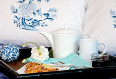 Breakfast In Bed With Pillows Stock Images