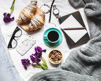 Breakfast In The Bed. Morning, Croissant, Coffee, Flowers And A Notebook With A Pen. Planning Stock Images