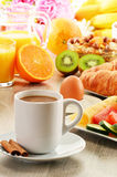 Breakfast including coffee, bread, honey, orange juice, muesli Stock Images
