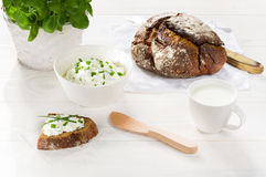 Breakfast including cottage cheese, bread Royalty Free Stock Photo