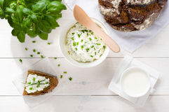 Breakfast including cottage cheese, bread Royalty Free Stock Image