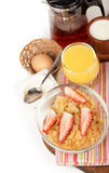 Breakfast including orange juice, muesli and Royalty Free Stock Image