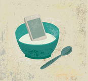 Breakfast information food mobile phone in plate objects metaphor. Royalty Free Stock Image