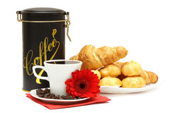Breakfast isolated. A cup of coffee, a jar and a plate of croissants and profiteroles Royalty Free Stock Photo