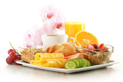 Breakfast isolated on white Royalty Free Stock Photo