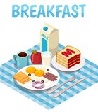 Breakfast Isometric Composition. With fried eggs, milk, bread with jam, tea or coffee on table vector illustration Stock Photography