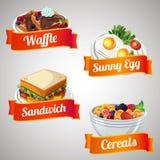 Breakfast item set. With orange ribbon stock illustration