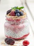 Breakfast Jars. Chia and berries layered breakfast jar Stock Images