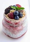Breakfast Jars. Chia and berries layered breakfast jar Stock Photo