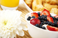 Breakfast juice, croissants and Berries on a table Royalty Free Stock Image