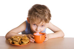 Breakfast of the kid Stock Image
