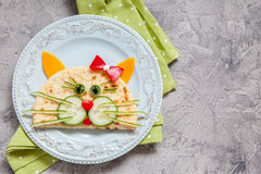 Breakfast for kids with cat quesadilla Royalty Free Stock Photography