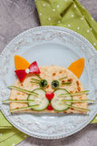 Breakfast for kids with cat quesadilla Royalty Free Stock Images
