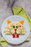 Breakfast for kids with cat quesadilla Royalty Free Stock Image